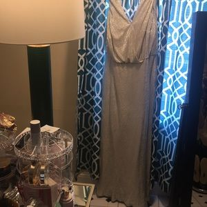 Silver metallic evening gown. Jenny Yoo size 18